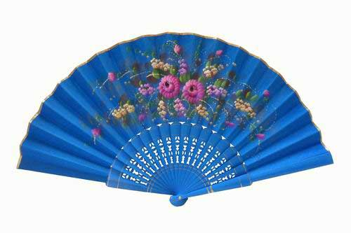 Blue hand-painted fan with golden rim. ref. 150