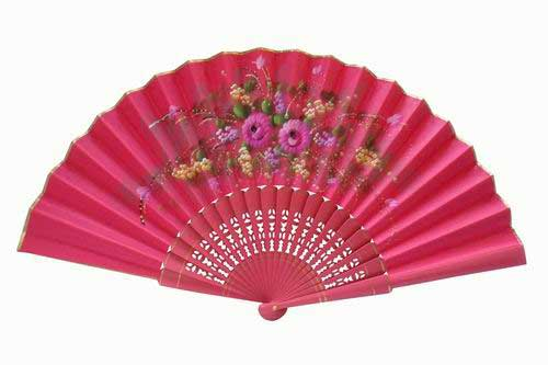 Fuchsia Hand-Painted Fan With Golden Piping. ref. 150