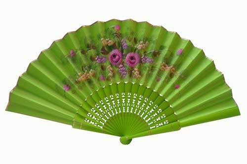 Pistachio green hand painted fan with golden rim. ref. 150