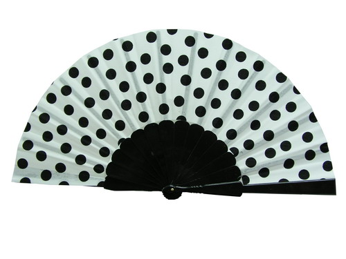 Polka Dots Fan With White Background and Black Polka Dots