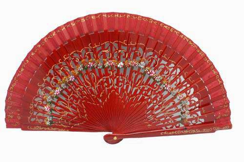 Maroon Handbag Fan with Fretwork and Floral motifs