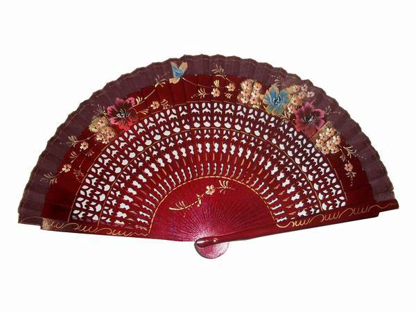 Maroon Openwork Wood Fan with Painted Flowers. Ref. 40