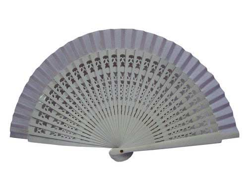 White Openwork Wood Fan for Kids. 35 cm X 19 cm.