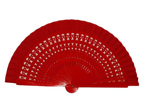 Red Openwork Wood Fan For Kids. 35 cm X 19 cm.