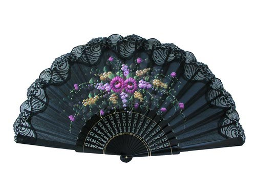 Hand painted fan with lace. 150ENCJ