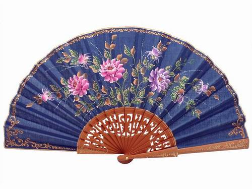 Navy Blue Fan with Hand Painted Flowers and Polished Pear Wood Lace Ribs. 45X25cm