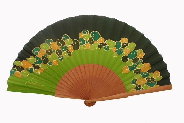 Green and Golden Natural Silk Fan With Polished Pear Wood Ribs