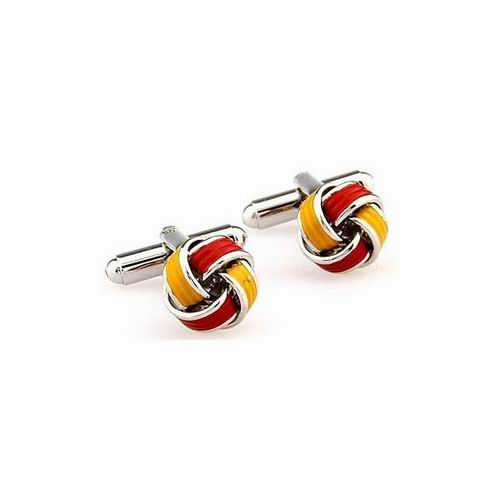 Enamelled Knot Cufflinks with Spanish Flag