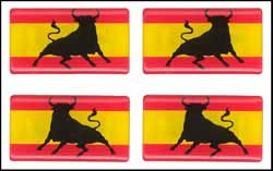 Spanish flag with brave bull- Stickers