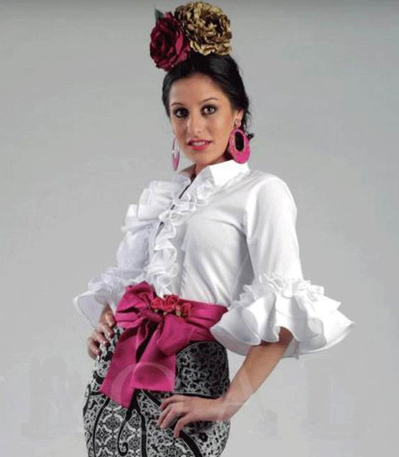 White Flamenca Blouse Jaen Model