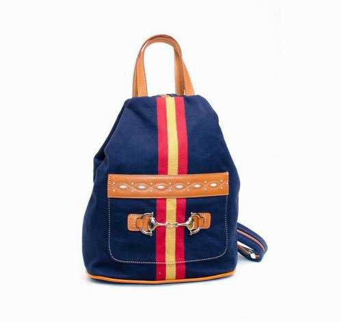 Blue Tarpaulin Backpack with Spanish Flag and Stirrup