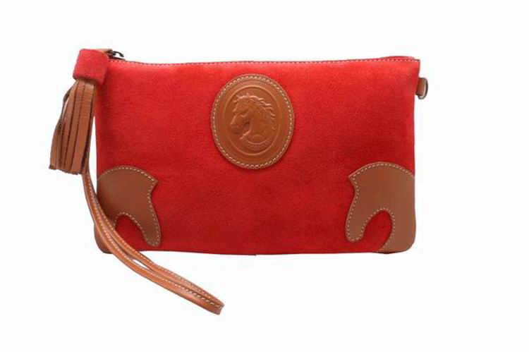 Red Split Leather Handbag and Bandoleer. Ref. 50014MP411RJ. 27cm X 16cm