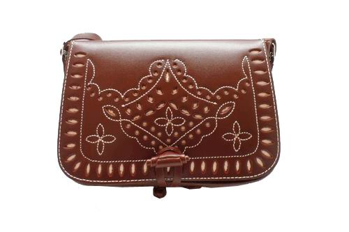 Handbag with Die-Cut Adornment on the Flap for Romerias