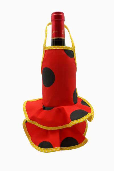 Red Flamenco Bottle Apron with Black Dots