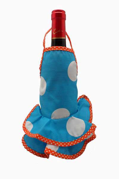 Turquoise Flamenco Bottle Apron with White Dots