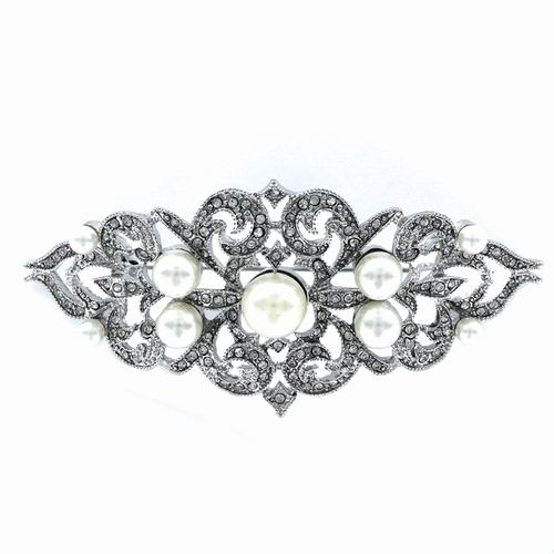 Silver Costume Jewelry Brooch with Circonitas and Pearls. Ref. 317