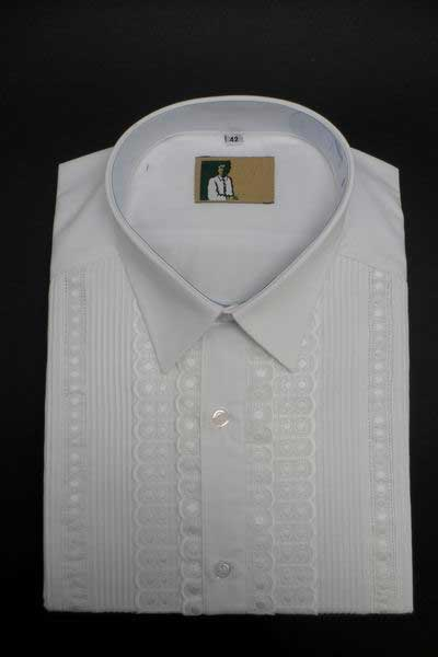 Pleated White Shirt For Him with Dickey,Entredeux and Embroidered Strips. Mod. M40