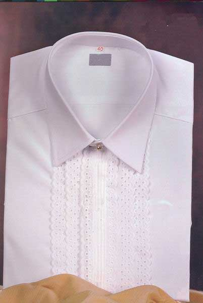 White Shirt for Man With Double Embroidered Strip.Mod.M60