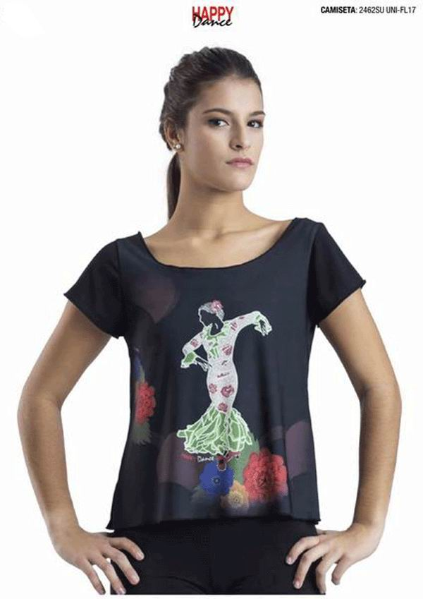 Rehearsal T-Shirt for Flamenco Dance . Ref. 2462SUUNI-FL17