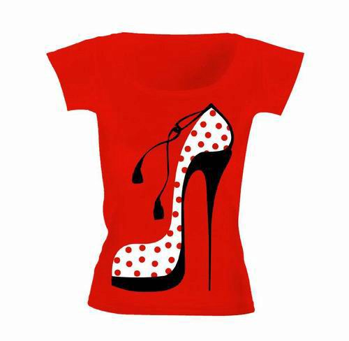 Red T-Shirt Depicting Polka Dots Shoe