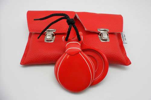 Red and White Grained Professional Fiberglass Castanets with Double Soundbox by Castañuelas del Sur