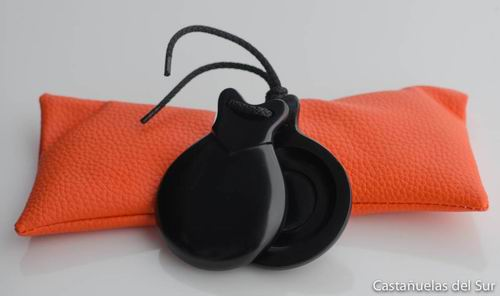 Black Semi-professional Fiberglass Castanets nº4 with V-shaped ear and double soundbox by Castañuelas del Sur