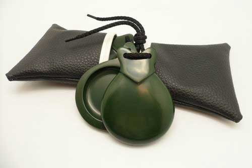 Green Fiberglass Semi-Professional Concert Castanets with V-shaped ears Size 4 by Castañuelas del Sur