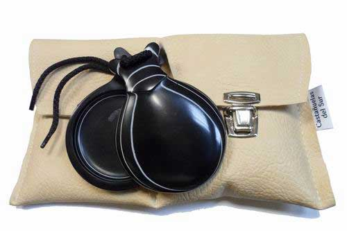 Black and White Grained Professional Fiberglass Castanets with V-shaped Ear