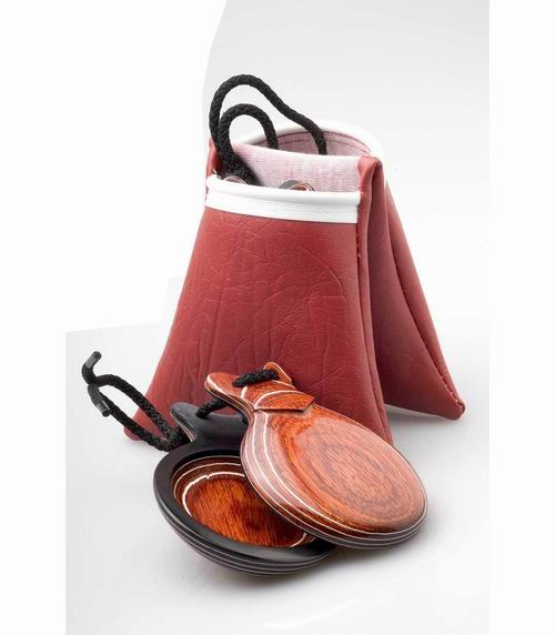 Professional Red and White Grained Wooden Castanets With V-Shaped Ears By Castañuelas del Sur