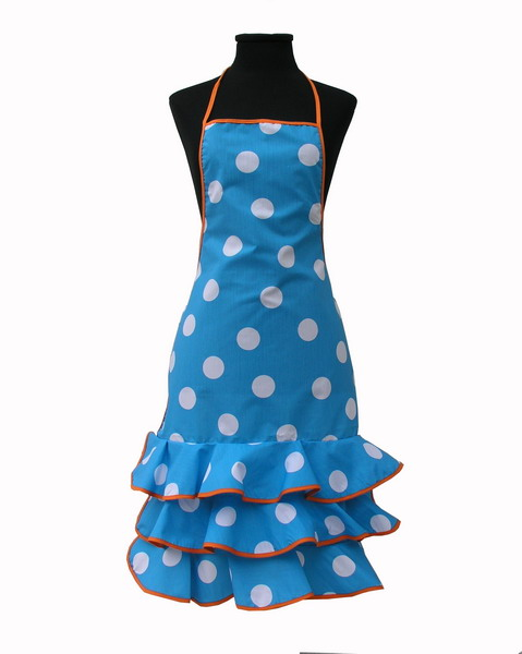 Turquoise Flamenco Apron with White Dots