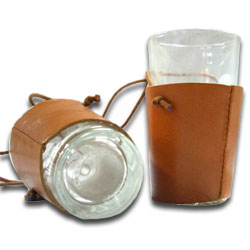 Small wineskin case with glass