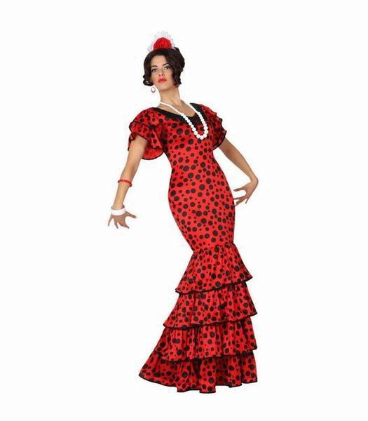 Sevillian Costume for Woman Red Black Dot