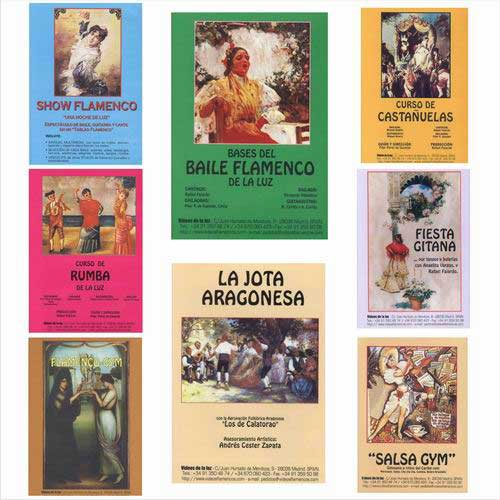 8 DVDs Pack. Course for Beginners of  Guitarra Flamenca, Bases del Baile Flamenco, Rumbas, Show Flamenco, Jota Aragonesa, Fiesta Gitana, Flamenco Gym y Salsa Gym