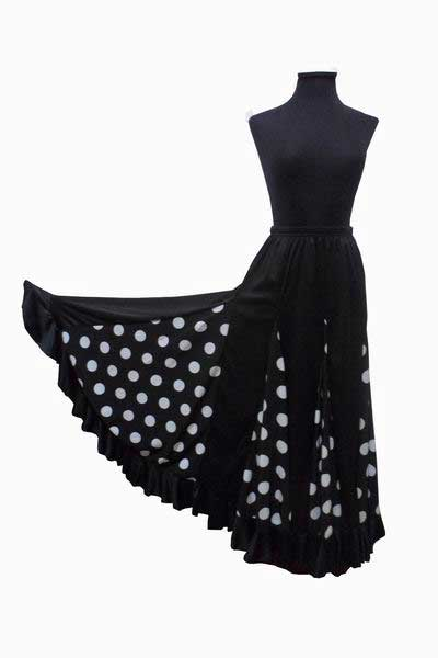 Black with White Polka Dots Flamenco Skirt