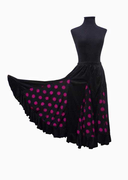 Black with Fuchsia Polka Dots Flamenco Skirt