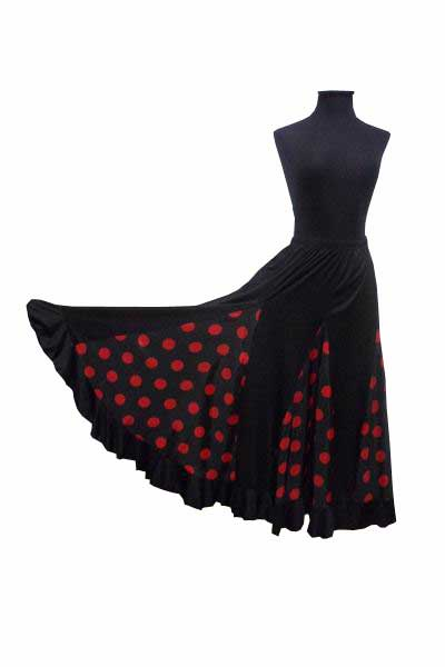 Black With Red Polka Dots Flamenco Skirt