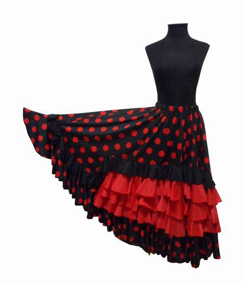 Black With Red Polka Dots Flamenco Skirt With Five Flounces (4 Red and 1 Black)