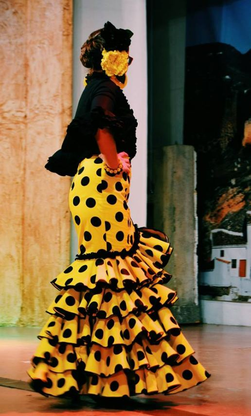 Rociera Skirt in Yellow with Black Polka Dots. Mod. Zambra