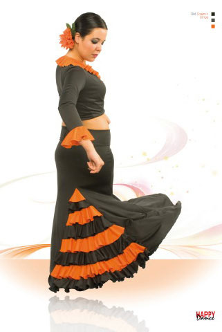 Faldas para Baile Flamenco Happy Dance Ref.EF122PS37PS15. Verde Alpino y Naranja