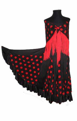 Black With Red Polka Dots Flamenco Skirt and Matching Shawl