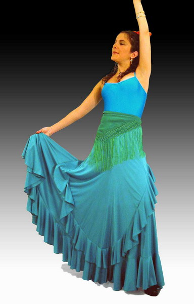 Rehearsal Flamenco Skirt: Light Green Model Palmeo
