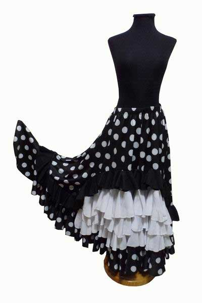 Black Skirt with White Polka Dots and 5 Flounces