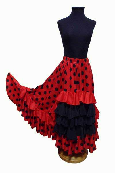 Red Skirt with Black Polka Dots and 5 Flounces