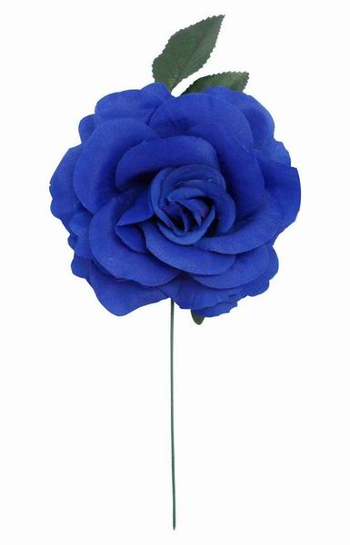 Big Blue Rose Made of Fabric. 15cm