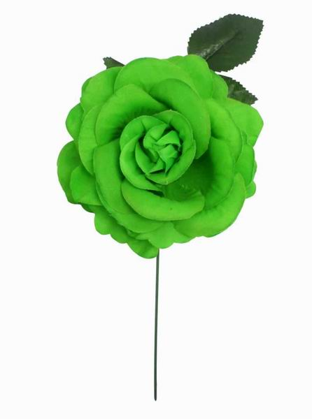 Big Pistachio Green Rose Made of Fabric. 15cm