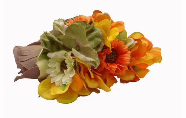 Headdress with Big Flowers in Orange