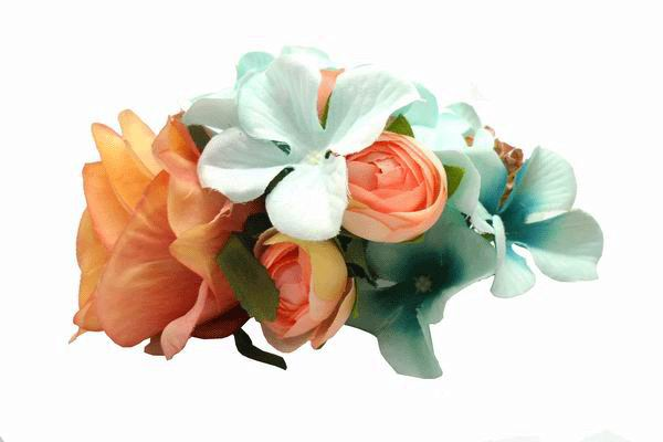 Small Headdress of Flamenco Flowers in Orange and Light Blue