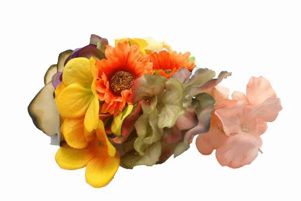 Small Headdress of Flamenco Flowers in Yellow Orange and Khaki