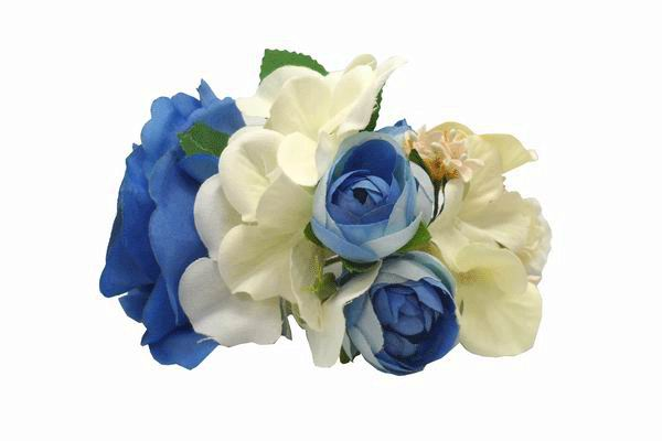 Small Headdress of Flamenca Flowers in Blue and Beige Tones
