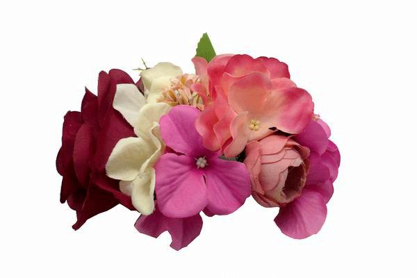 761705a53132 Tocado de Flores Flamencas Pequeño en Tonos Buganvilla Rosas y Beig